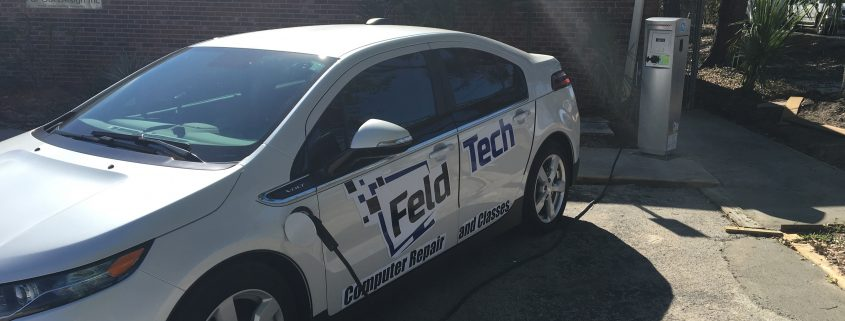 Feldtech's company car parked out back.